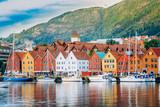 View of historical buildings, Bryggen in Bergen, Norway. UNESCO  - 129617582