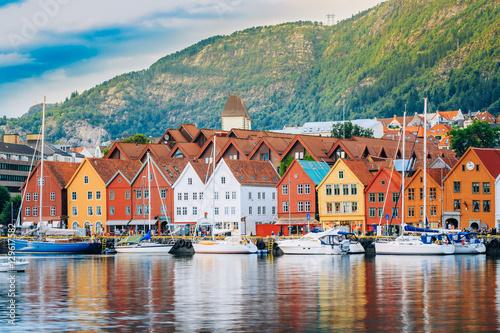 Poster View of historical buildings, Bryggen in Bergen, Norway. UNESCO