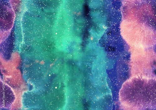 Cotton fabric Watercolor seamless background with abstract galaxy