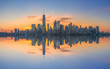 Manhattan cityscape panorama reflections