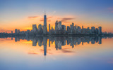 Manhattan cityscape panorama reflections  - 129624394