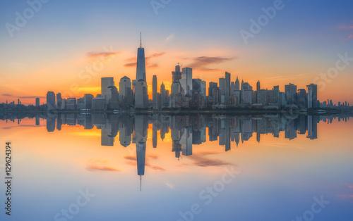Manhattan cityscape panorama reflections  - 129624394