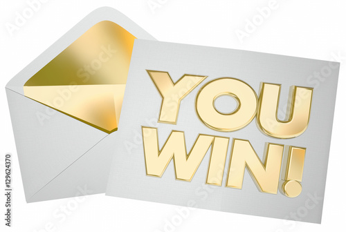 Poster You Win Letter Envelope Message Contest Success 3d Illustration