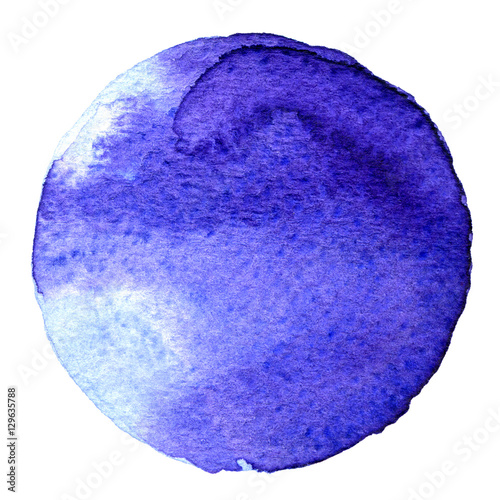 Blue circle shape painted with watercolors isolated on a white background. Watercolor. Sample Trendy colors 2017. - 129635788