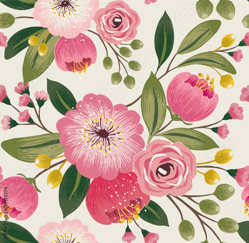 Materiał do szycia Vector illustration of a seamless floral pattern with spring flowers. Lovely floral background in sweet colors