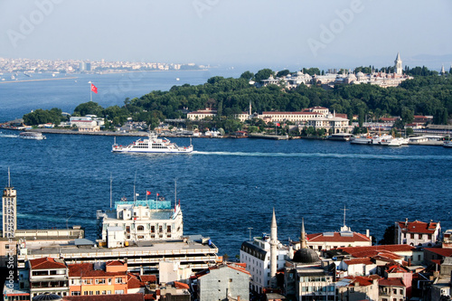 Poster  cityscape  of Istanbul with its mosques , the golden horn  and bosforo channel