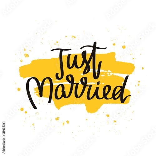 Póster Recién casados. La caligrafía de tendencia