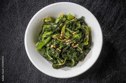 Fotobehang Seoel ほうれんそうのナムル Namul Korean food of the spinach