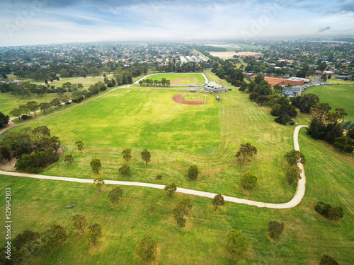 Aerial view of Baseball field at Bcentennial Park in Chelsea, Melbourne, Austral Poster