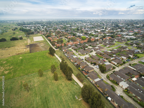 Poster Aerial view of Chelsea suburb in Melbourne, Australia