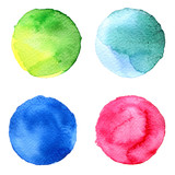 Set of colorful watercolor hand painted circle isolated on white. Illustration for artistic design. Round stains, blobs blue, red, green, brown