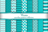 Waves seamless pattern collection - 129662113