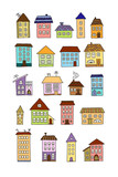 Set of doodle color houses - 129662136