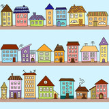Vector seamless pattern with  houses - 129662157