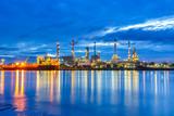 Oil refinery along the river at Dusk (Bangkok, Thailand)
