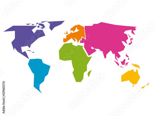 Juliste Simplified world map divided to six continents - South America, North America, Africa, Europe, Asia and Australia - in different colors