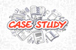 Case Study - Doodle Red Word. Business Concept.