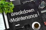 Breakdown Maintenance on Black Chalkboard. 3D Rendering.