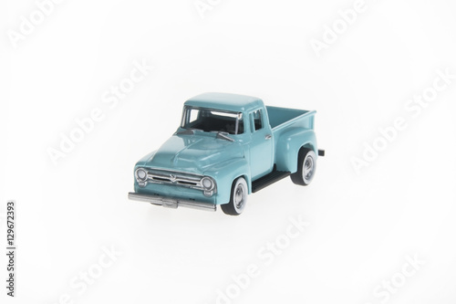 Poster Green Toy Pickup on White Background
