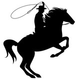 cowboy throwing lasso riding rearing up horse - black silhouette over white - 129683375