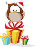 cute owl with santas hat sitting on christmas gift - vector - 129687338