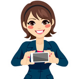 Young happy smiling businesswoman showing blank horizontal black smartphone