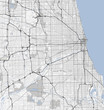 Map Chicago city. Illinois Roads
