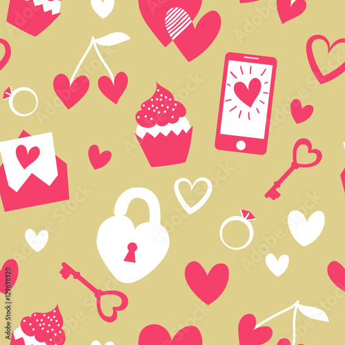 Cotton fabric Valentine's Day vector seamless pattern. Flat cartoon elements on gold background. Cute girly stuff pattern design. Great for wrapping and textile.