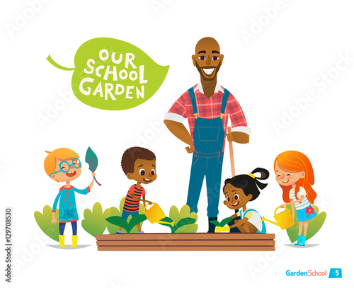 Teacher and kids engaged gardening in the backyard. Girl watering flowers in the garden. Eco concept. Montessori education activities. Organic.