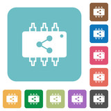 Connect hardware square flat icons