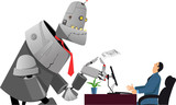 Giant robot holding a resume, having a job interview with a hiring manager, EPS 8 vector illustration, no transparencies