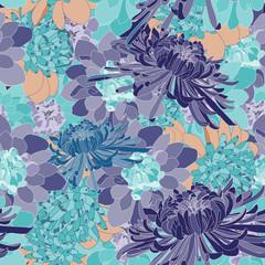 chrysanthemum flower repeat pattern