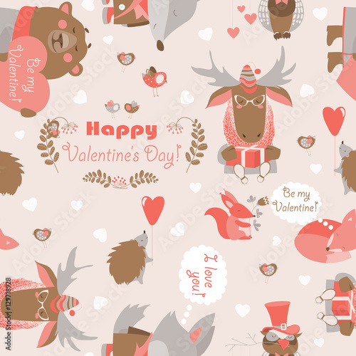 Cotton fabric Seamless Valentines pattern with fun animals, hearts and flowers