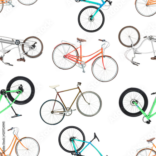 Materiał do szycia Seamless pattern of different bicycles isolated on a white