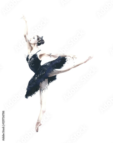 Ballerina dancer Odile black swan swan lake watercolor painting illustration isolated on white background - 129736786