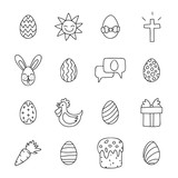 Easter icons on a white background