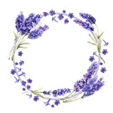 Wildflower lavender flower wreath in a watercolor style isolated.