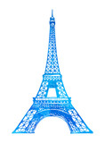 Eiffel Tower in Paris vector illustration, hand drawn famous french landmark silhouette on a white background, vector watercolor