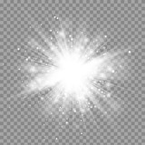 Fototapety Vector magic white rays glow light effect isolated on transparent background. Christmas design element. Star burst with sparkles