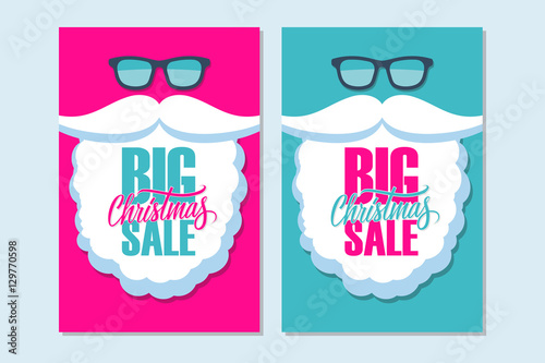 Big Christmas Sale banners with Santa Claus. Vector illustration.