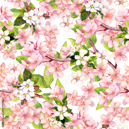 Materiał do szycia Cherry blossom, apple pink flowers. Floral repeating pattern. Watercolor