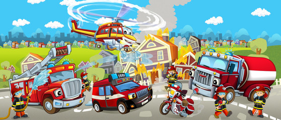 Cartoon stage with different machines for firefighting - colorful and cheerful scene - illustration for children
