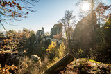 The Bastei Bridge and the Saxon Switzerland National Park, Germany. The Bastei like a point of turistic destination.