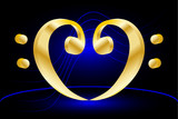 Music note stave and heart bass clef,