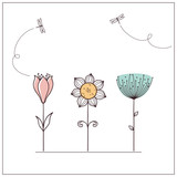 Fototapety Hand drawn doodle flowers set with dragonflies
