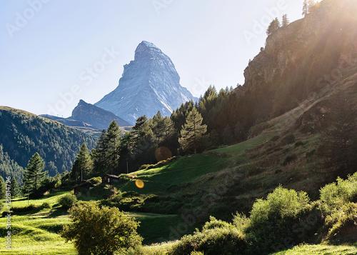Poster Matterhorn mountain in Zermatt Switzerland with sun flare