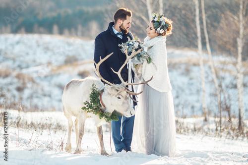 Piękna narzeczona chodzić z jelenia. Ceremonia ślubna w zimie.