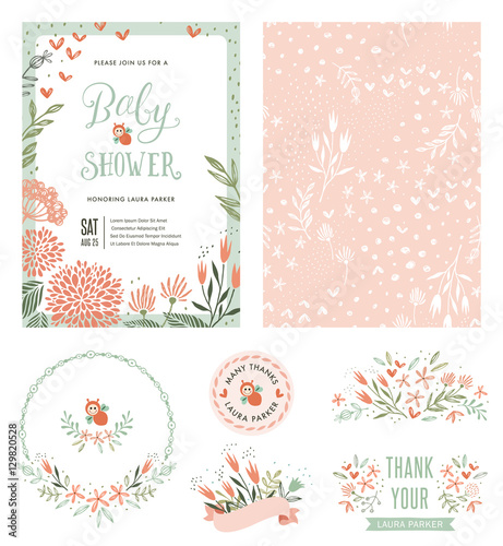 Baby Shower invitation with seamless background and floral typographic design elements. Vector illustration. - 129820528