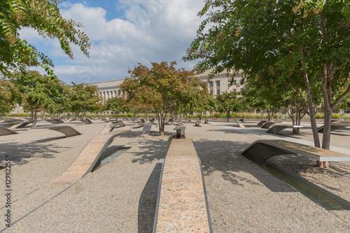 Poster The Pentagon Memorial in Washington DC - no names on display