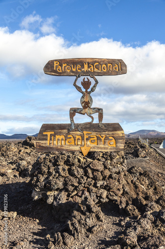 Devil sign by entrance Timanfaya National Park in Lanzarote Poster